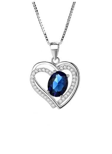 Enesstore Gümüş Safir Taşlı Çift Kalp Bayan Kolye Beyaz